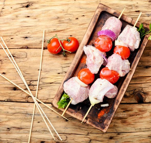 BBQ fresh pork chop slices - Stock Photo - Images