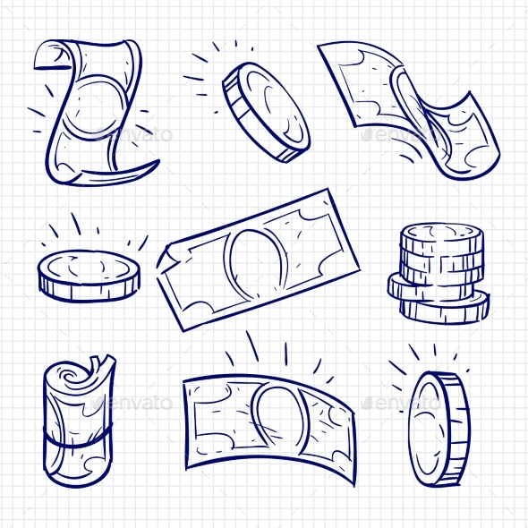 Ballpoint Pen Drawing Money and Coins - Miscellaneous Vectors