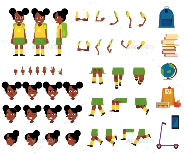 Vector Student Kid Creation Set - People Characters