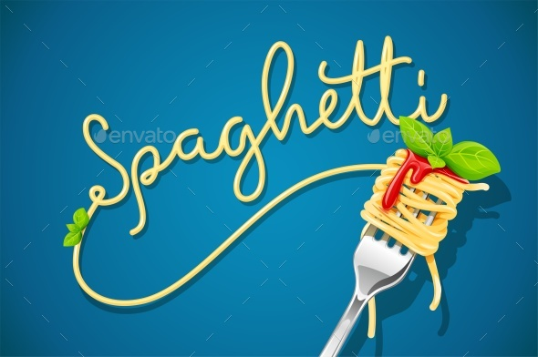 Spaghetti at Fork with Basil and Sauce - Food Objects