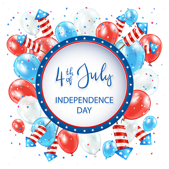 Independence Day with Balloons and Fireworks on White Background - Miscellaneous Seasons/Holidays