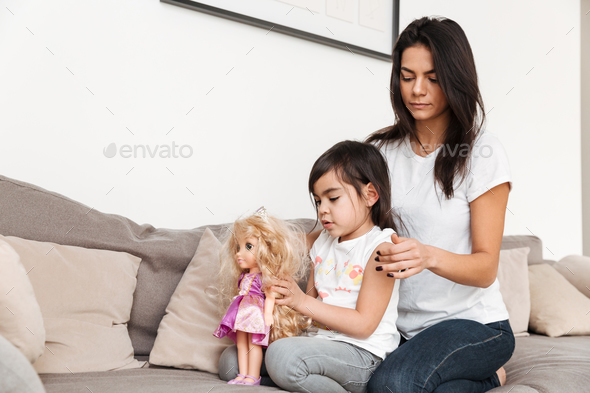 Portrait of gorgeous family mother and child spending time toget - Stock Photo - Images