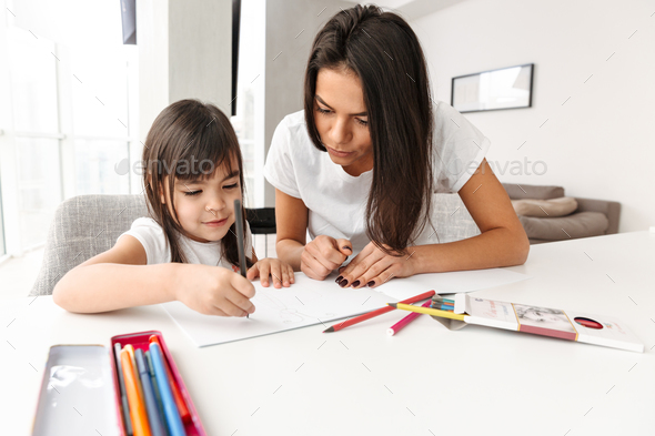 Image of lovely mother and little daughter enjoying day together - Stock Photo - Images