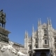 Lot of Pigeons Fly Over Piazza Del Duomo in Milan