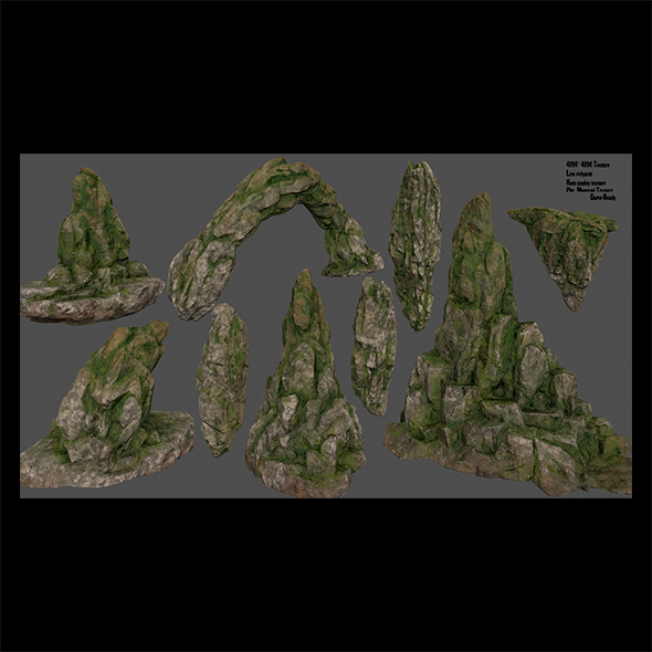 mossy rocks set - 3DOcean Item for Sale