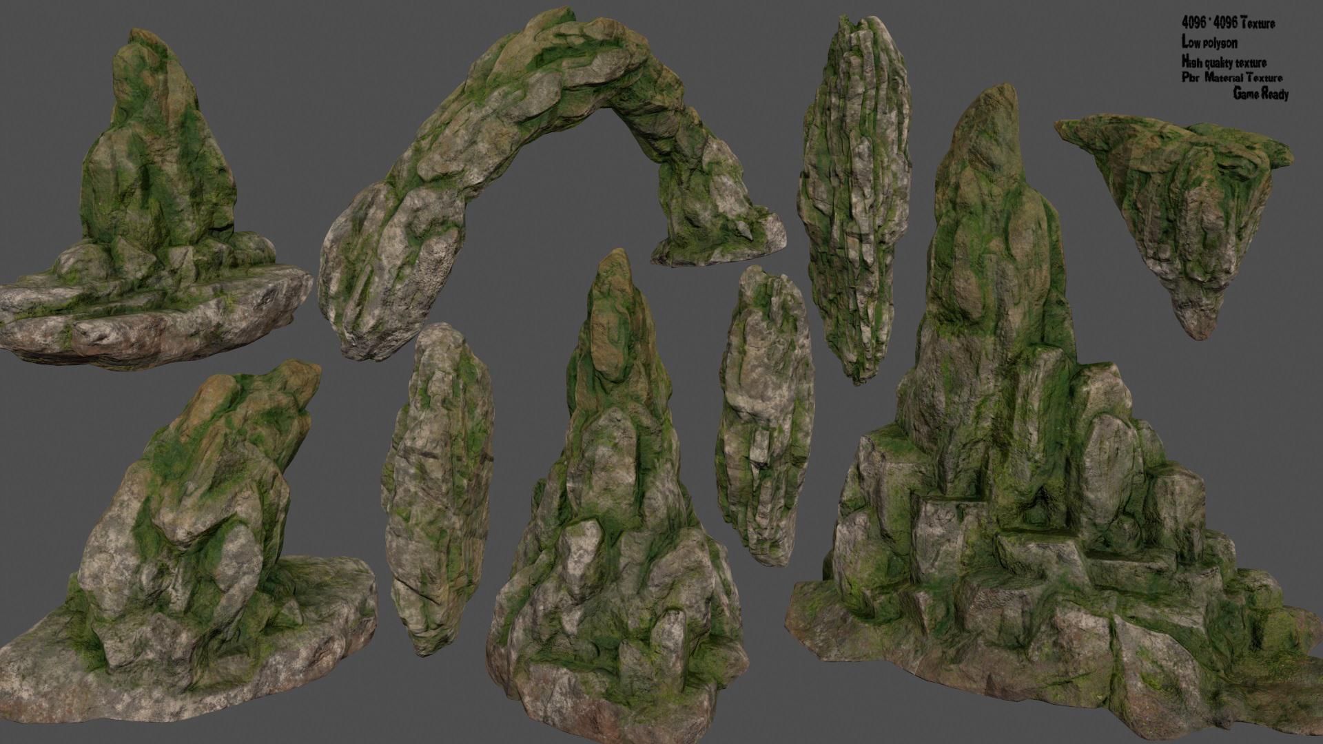 mossy rocks set