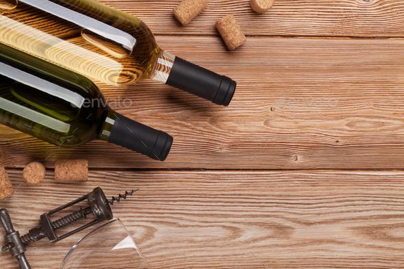 White wine bottles - Stock Photo - Images