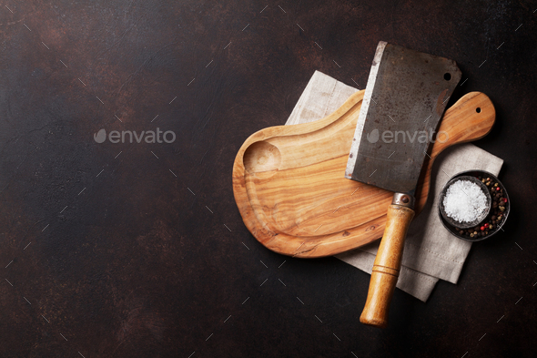 Butcher. Vintage meat knife - Stock Photo - Images