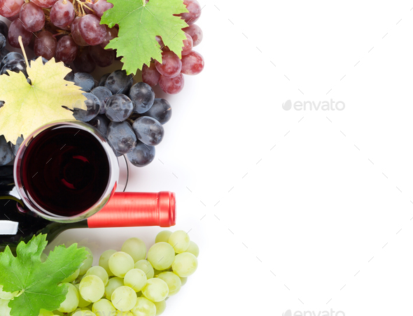 Wine and grapes. Isolated on white - Stock Photo - Images