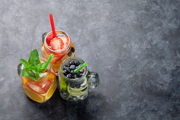 Fresh lemonade with summer fruits and berries - Stock Photo - Images