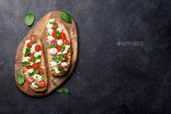 Caprese bruschetta toasts - Stock Photo - Images