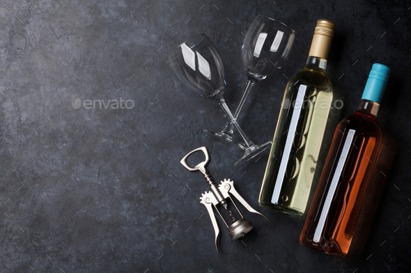 Rose and white wine bottles - Stock Photo - Images