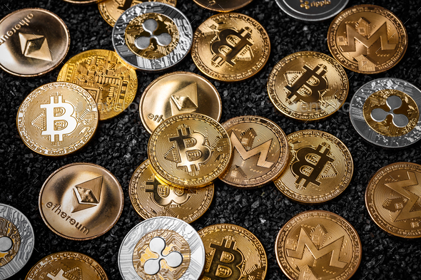 Stack of cryptocurrencies - Stock Photo - Images