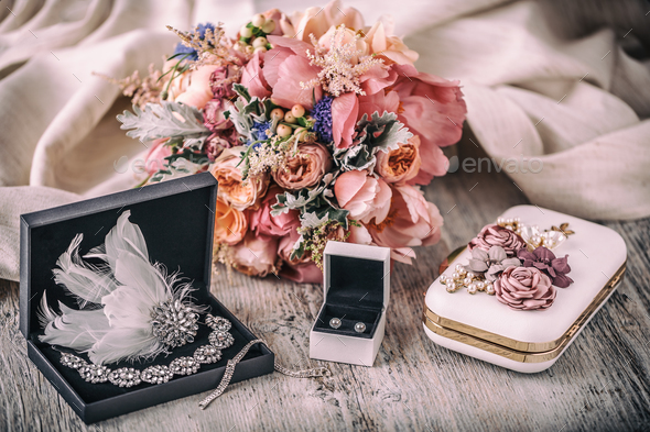 Wedding composition. Bride accessories - Stock Photo - Images