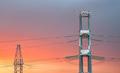 High voltage power transmission line on sunset  - PhotoDune Item for Sale