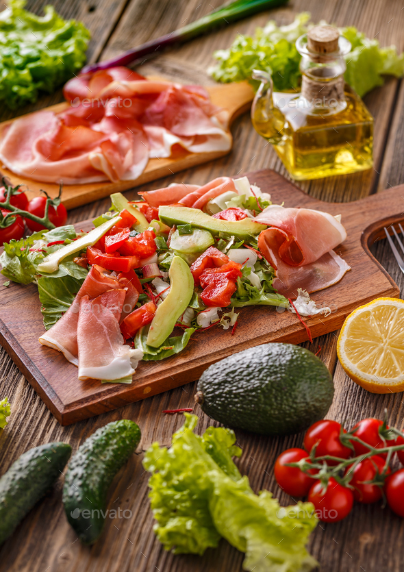 Salad with smoked ham - Stock Photo - Images