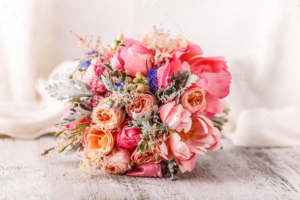Bride's beautiful bouquet - Stock Photo - Images