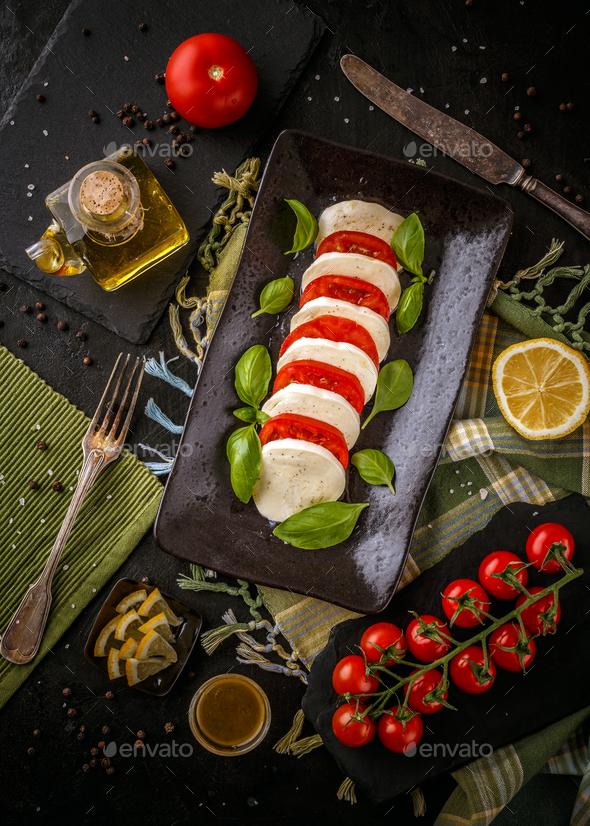 Fresh italian caprese salad - Stock Photo - Images
