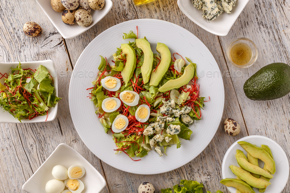 Fresh salad with avocado - Stock Photo - Images