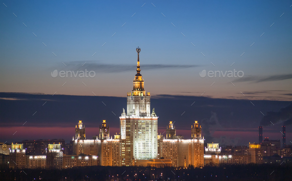 View from height to Moscow State University, in the evening - Stock Photo - Images