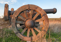 Large wooden wheel of an old cannon - PhotoDune Item for Sale