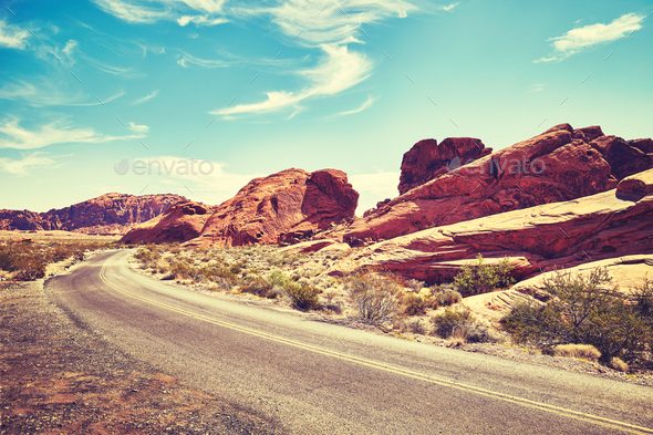 Deserted road, Valley of Fire, Nevada, USA. - Stock Photo - Images