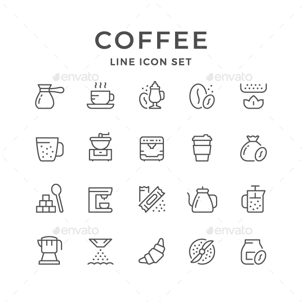 Set Line Icons of Coffee - Man-made objects Objects