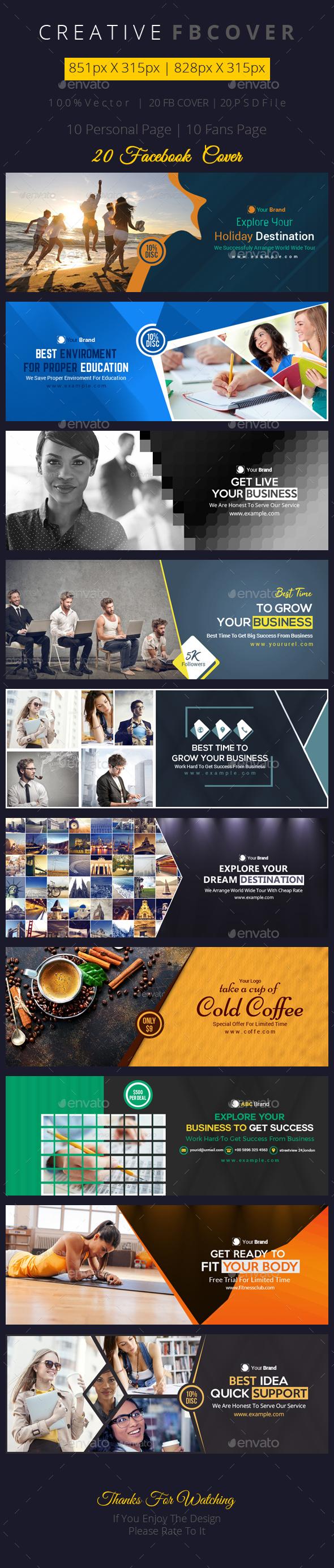 Facebook Cover Bundle - 20 Design - Facebook Timeline Covers Social Media