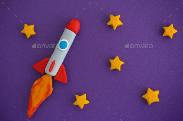 Space Rocket Flying For New Ideas Through The Stars - Stock Photo - Images
