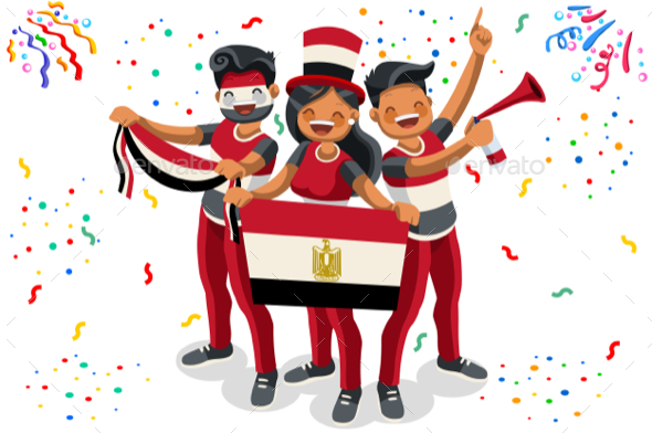 Russia with Egypt Flag - People Characters