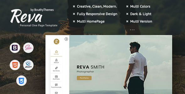 Reva – Personal One Page Template