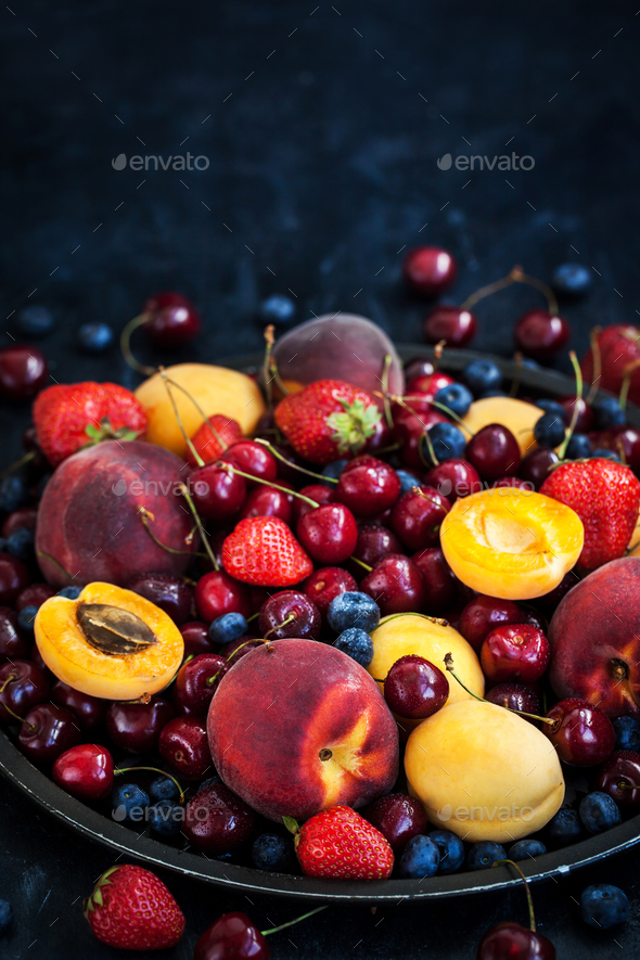 Fresh ripe summer berries and fruits - Stock Photo - Images