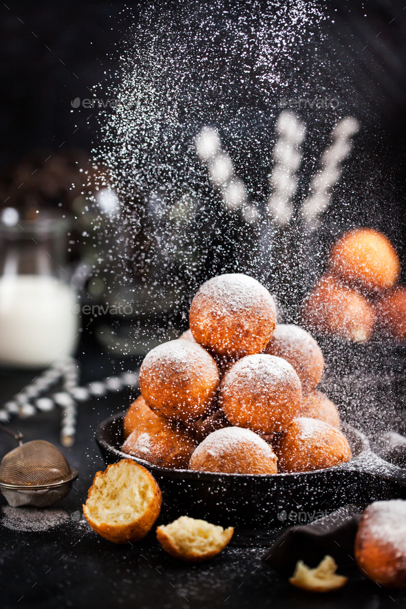 Fresh delicious homemade cottage cheese ball donuts with powdere - Stock Photo - Images