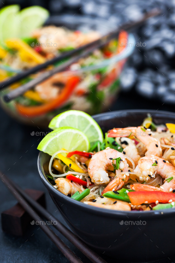 Delicious asian rice glass noodles with prawns and vegetables  ( - Stock Photo - Images