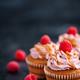 Raspberry and caramel cupcakes on dark background - PhotoDune Item for Sale