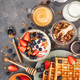 Breakfast table with cereal granola, milk, fresh berries, coffee - PhotoDune Item for Sale