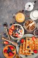 Breakfast table with cereal granola, milk, fresh berries, coffee - PhotoDune Item for Sale
