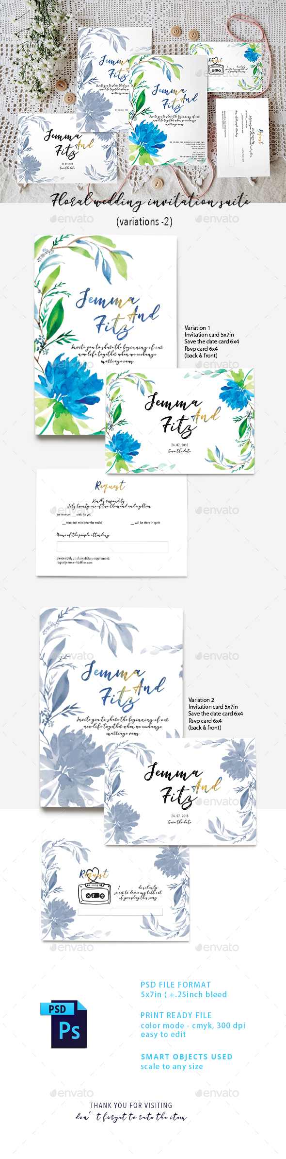 Floral Wedding Invitation Suite - Weddings Cards & Invites