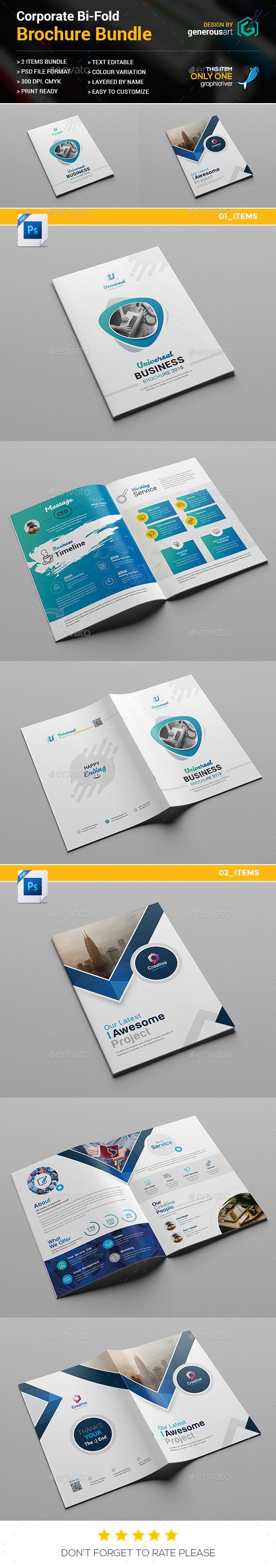 Bi-Fold Brochure Bundle 2 in 1 - Brochures Print Templates