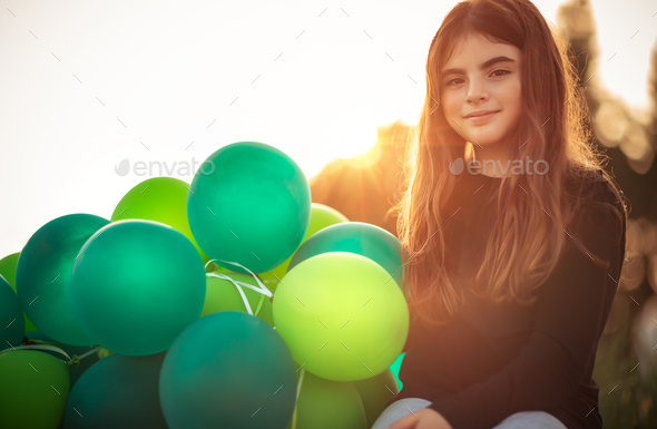 Pretty girl with air balloons - Stock Photo - Images