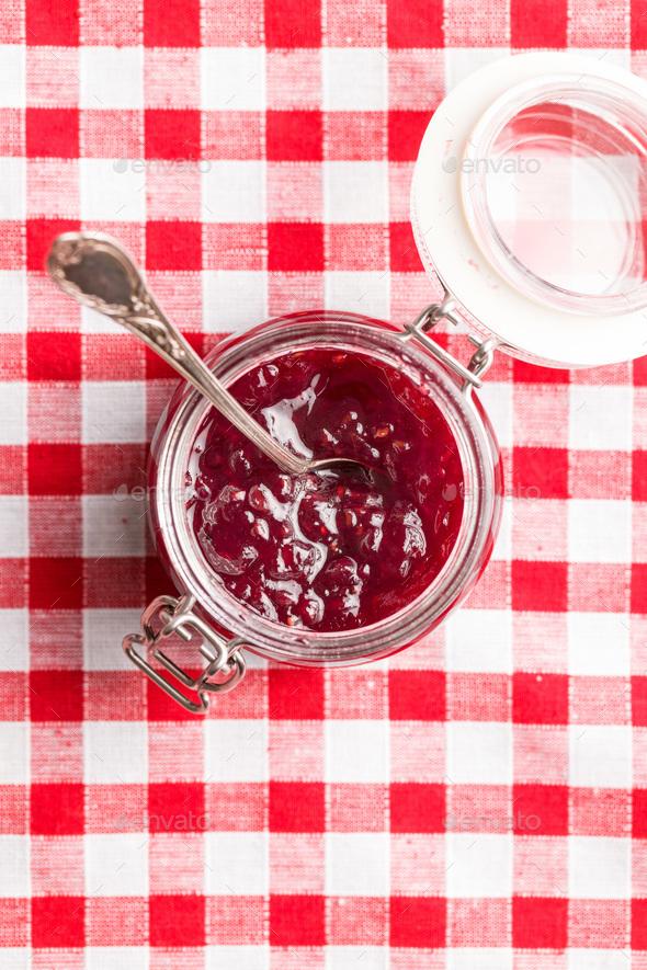 Raspberry jam jelly. - Stock Photo - Images