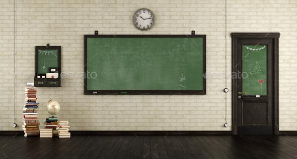 Empty retro classroom - Stock Photo - Images