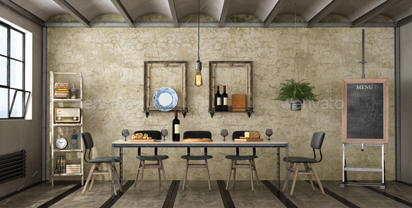 Dining room in a loft - Stock Photo - Images