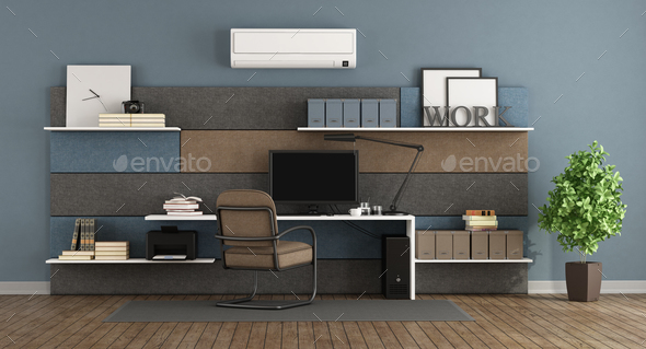 Blue and brown modern office - Stock Photo - Images
