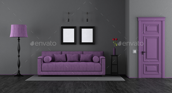 Elegant black and purple living room - Stock Photo - Images