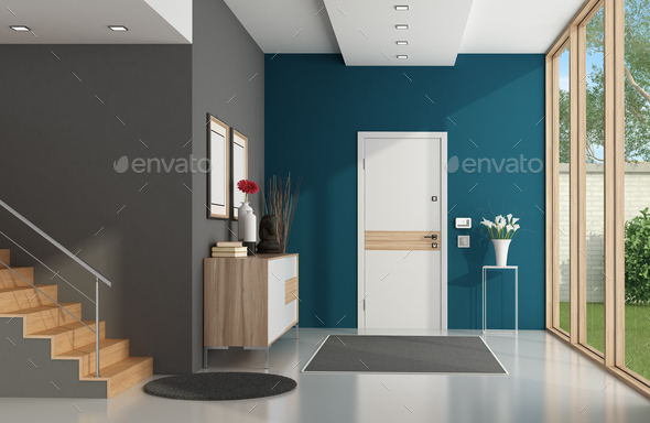 Modern home entrance - Stock Photo - Images
