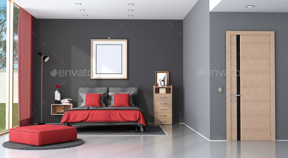 Red and black modern master bedroom - Stock Photo - Images
