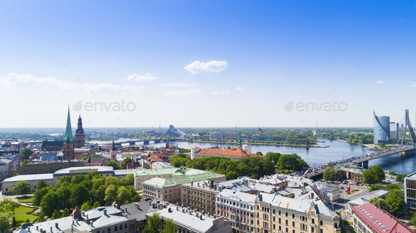 Top view on the old town with beautiful colorful buildings in Riga city - Stock Photo - Images