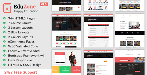 Eduzone - Online Course HTML Site Template Free Download | Nulled