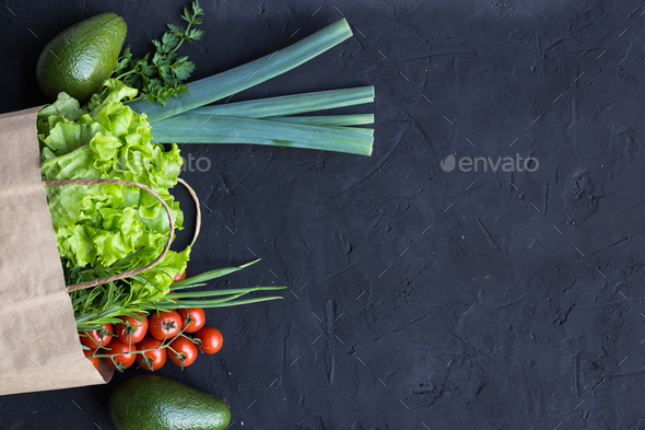 Vegan shopping package of vegetables - Stock Photo - Images